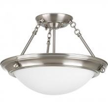 Progress P3568-09EB - Two Light Brushed Nickel Satin White Glass Bowl Semi-Flush Mount