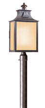 Troy PF9006OBZ - Newton 1Lt Post Lantern Fluorescent Large W/Amber Mist Glass