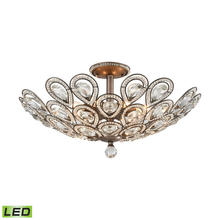 ELK Lighting 11932/8-LED - Evolve 8-Light Semi Flush in Weathered Zinc with Clear Crystal - Includes LED Bulbs