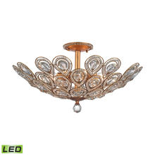 ELK Lighting 11933/8-LED - Evolve 8-Light Semi Flush in Matte Gold with Clear Crystal - Includes LED Bulbs