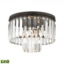 ELK Lighting 15223/1-LED - Palacial 1-Light Semi Flush in Oil Rubbed Bronze with Clear Crystal - Includes LED Bulb
